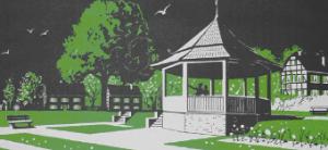 Plakat mit dem Pavillon im heutige Park Ville d'Eu